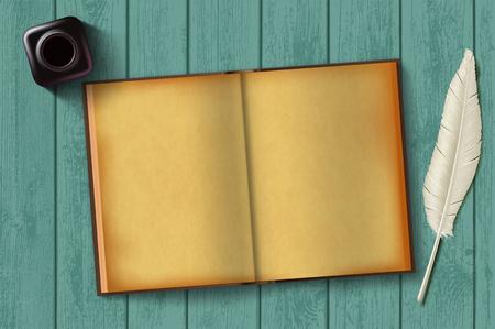 Bloc de notas de papel y pluma con un tintero sobre una mesa de madera. Fondo retro vintage. Diario antiguo en blanco para escribir. Ilustración vectorial de stock.