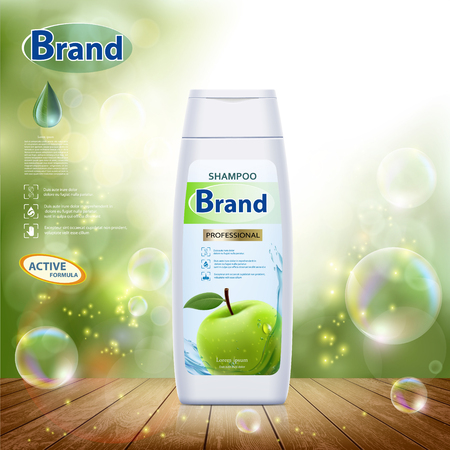 White plastic bottle with hair shampoo. Green apple on label. Product brand mockup design. Stock vector illustration.