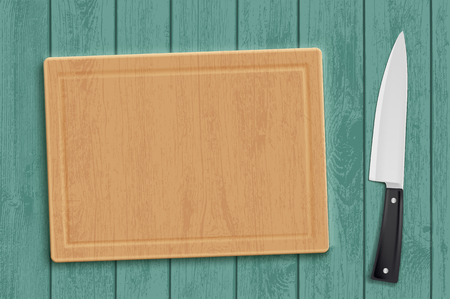 Wooden kitchen cutting board with a knife template