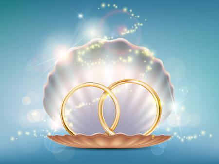 Due anelli di nozze d'oro in una conchiglia. Stock illustrazione vettoriale. Vettoriali