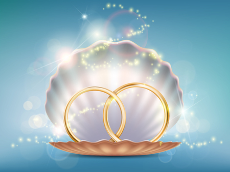 Two gold wedding rings in a seashell. Stock vector illustration.
