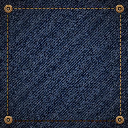Hintergrund aus blauem Jeansstoff mit Fäden und Nieten. Stock Vektor-Illustration.