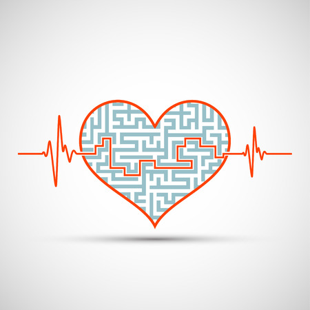 Logo of the human heart with a maze and line of the electrocardiogram of the heartbeat. Stock vector icon.