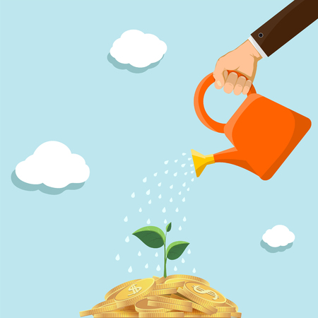 Man watering a pile of gold coins with a watering can. Plant with leaves grows out of money. Stock vector illustration.
