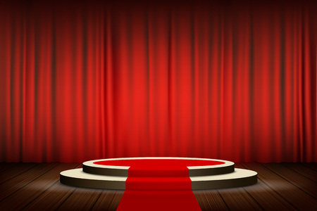 Red carpet on the round podium with steps. Velvet curtain on stage. Stock vector illustration.