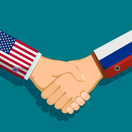 Handshake of two president. Policy between the USA and Russia. Stock vector illustration. Illustration
