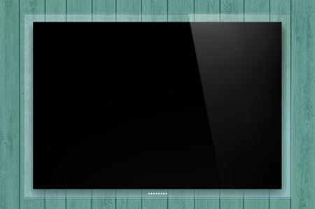 Black Glass TV panel on the wooden wall. Stock vector illustration.