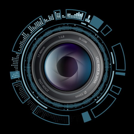 Camera photo lens with HUD interface. Stock vector illustration. Vettoriali