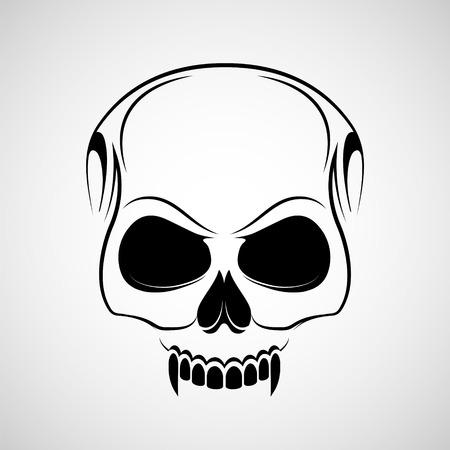 Skull es un vampiro con colmillos. Tatuaje de logo aislado sobre fondo blanco. Ilustración vectorial de stock. Logos