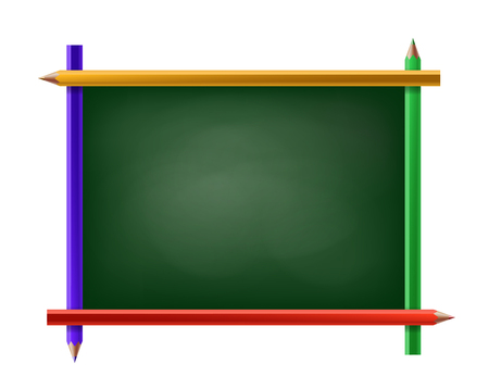 Green chalkboard with frame of pencils. Isolated on white background. Stock vector illustration. Illustration