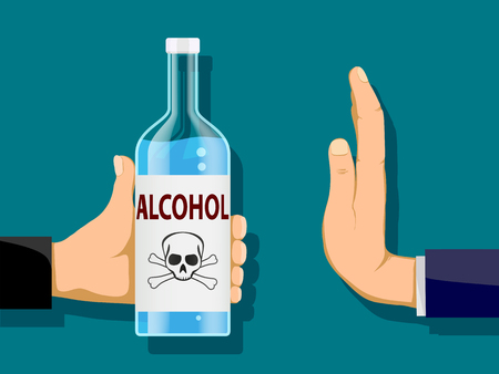 Man is holding a bottle of alcohol in his hand. Another person refuses to drink. Stock vector illustration. Illustration