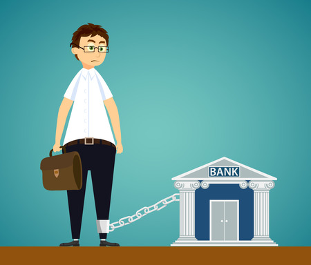 Man chained to the bank. Debt on the loan, or mortgage. Stock vector illustration.
