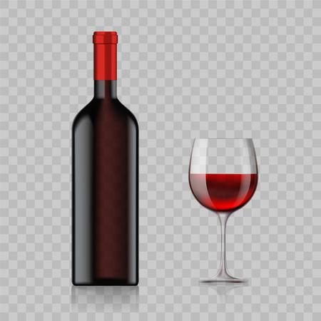 Blank bottle with alcoholic drink and wine glass isolated on a transparent background. Stock Vector illustration.
