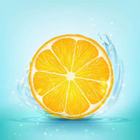 Slice of orange and juice with splashes and drops. Stock vector illustration.