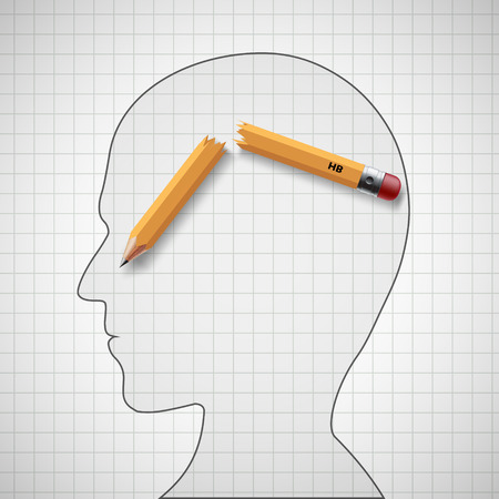 Broken pencil in the human head. Nervous tension and headache. Stock vector illustration.