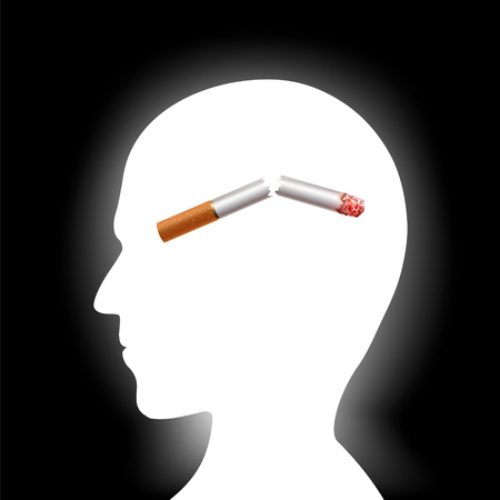 Broken cigarette inside the human head. Harmful habit of smoking and a healthy lifestyle. Stock vector illustration.