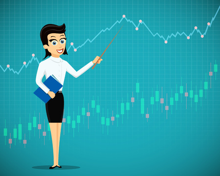 Woman showing a financial graphs and charts. Stock market exchange. Stock vector illustration.