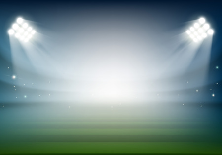 Blank football field on the stadium. Sports background illuminated by searchlights. Stock vector illustration. Illustration