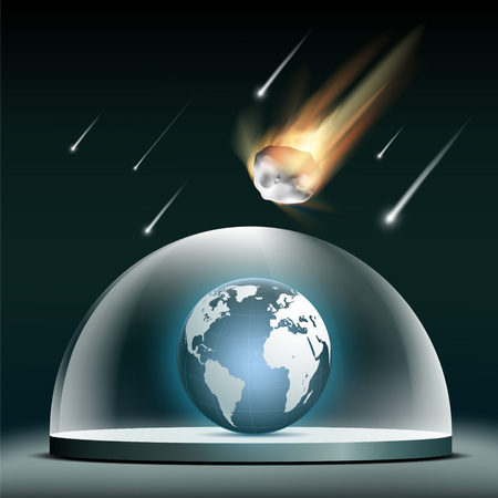 Planet earth under a glass dome. Protection from asteroids. Stock vector illustration. 向量圖像