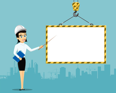 Woman engineer showing on blank building frame with copy space. Stock vector illustration. Vectores