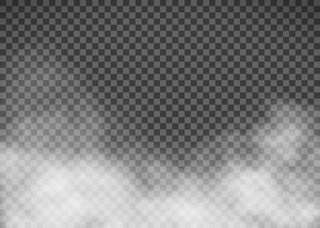 Humo blanco sobre fondo transparente. Plantilla de niebla. Ilustración vectorial de stock.