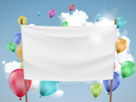 White fabric banner with multicolored balloons. Stock vector illustration.