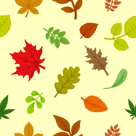 Background of colorful autumn leaves. Natural seamless pattern. Stock vector illustration.