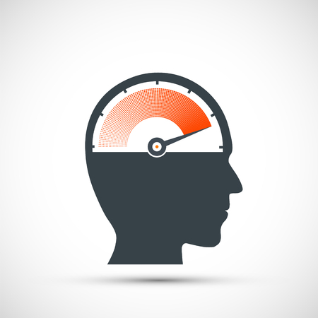 Icon speedometer with arrow and scale in human head. nervous stress and fatigue. Stock vector illustration.