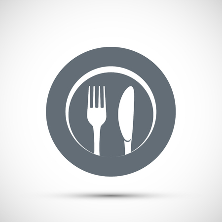 Icon plate with fork and knife. Logo for the restaurant and cafe. Stock vector illustration.