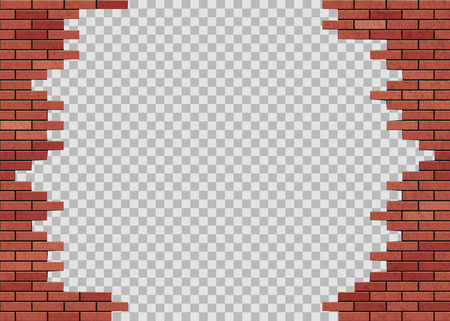 Template hole in red brick wall. Isolated on a transparent background. Stock vector illustration.