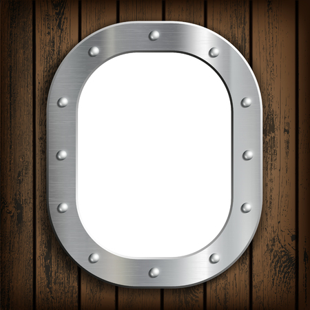 Window ship porthole with white background. On a wooden wall. Stock vector illustration