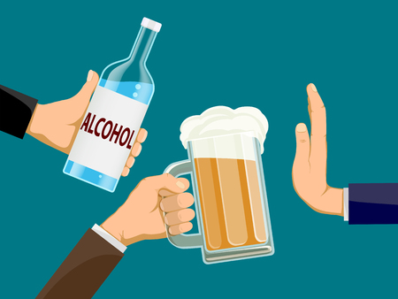 People is holding a bottle of alcohol and glass of beer in hands. Another man refuses to drink. Stock vector illustration. Illusztráció