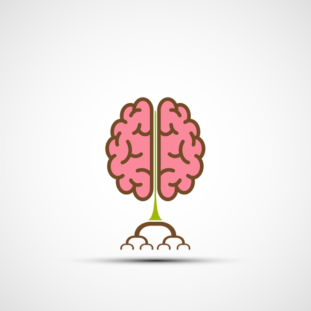 Icon human brain like a tree with roots. creative ideas and education. Stock vector illustration.