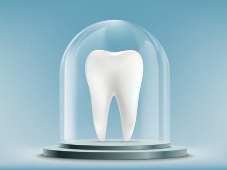 Witte menselijke tand onder de glazen koepel. Voorraad vectorillustratie.