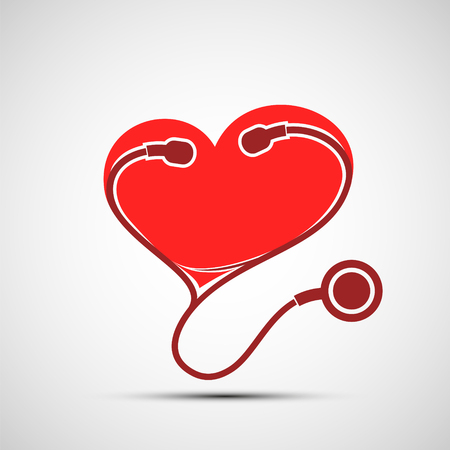 Icon medical stethoscope and red human heart. healthcare and medicine. Stock vector illustration.