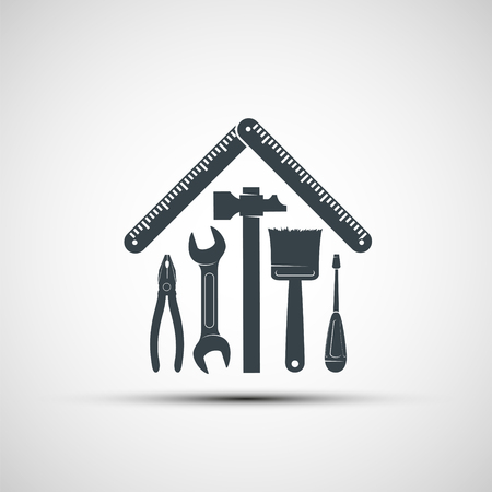 Logo building hand tools like a house. Repair icon. Stock vector illustration.