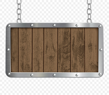 Retro signboard made of metal and wood hanging on chains. Isolated on a transparent background. Stock vector illustration.