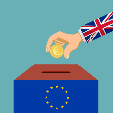 Brexit of Great Britain from European Union. Human hand with euro coin. Vector illustration. Illustration