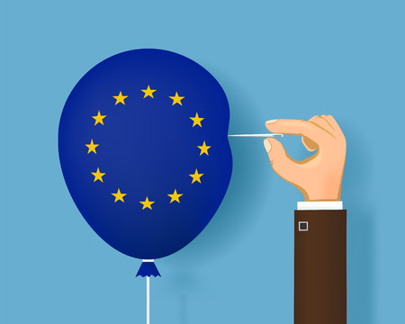 Human hand with a sewing needle and a balloon with flag of European Union. Brexit. Vector illustration. Stock Illustratie