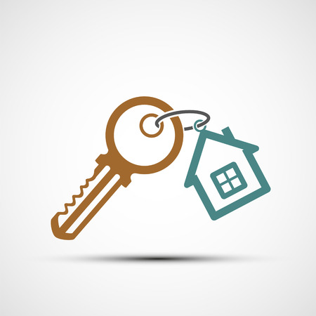 Icon key with keychain as a house. real estate. Vector illustration.