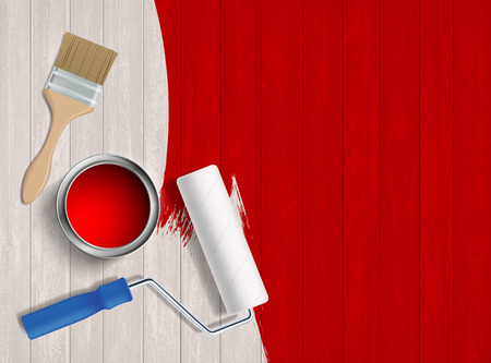 Paint roller, paint brush and a bucket on a wooden table. Construction tools. Vector illustration. Stock Illustratie