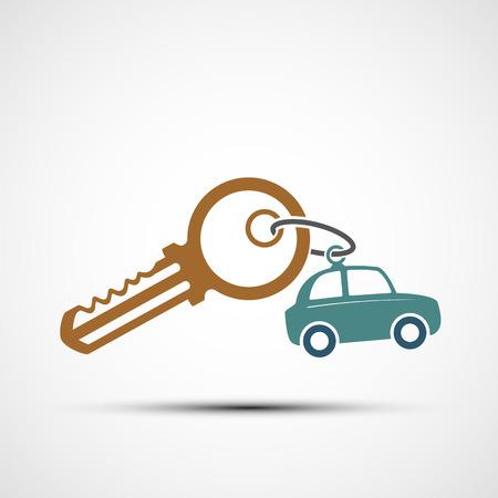 Icon key with keyring. car sharing. Vector illustration. Stock Vector - 116599211