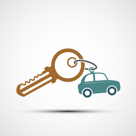 Icon key with keyring. car sharing. Vector illustration.