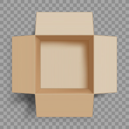 Empty open cardboard box. Isolated on a transparent background. Vector illustration.