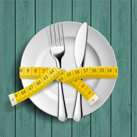 Plate with knife, fork and measuring tailor tape on the table. Dieting and healthy lifestyle. Vector illustration. Illustration