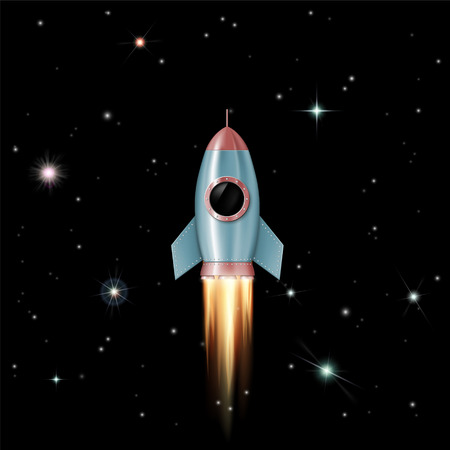Rocket flies into outer space to the stars. Spaceship with porthole. Vector illustration.