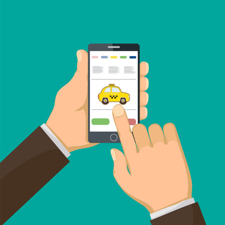 Man is holding a smart phone and call a taxi. Vector illustration.