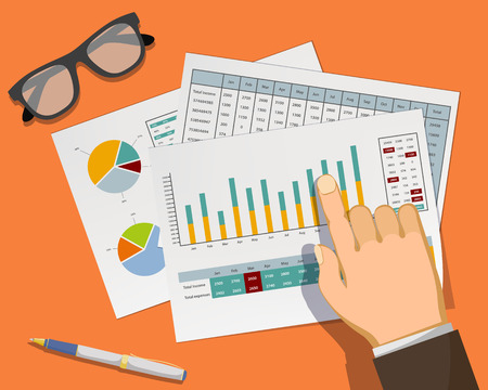 Man pointing at graphs and charts in the document on the workplace. Vector illustration in flat graphics style. Stock Illustratie