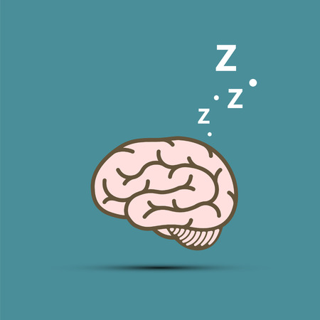 Snoring human brain. Vector illustration in flat graphics style