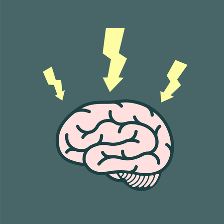 Icon electrical discharges around the human brain. Vector flat graphics illustration Illustration